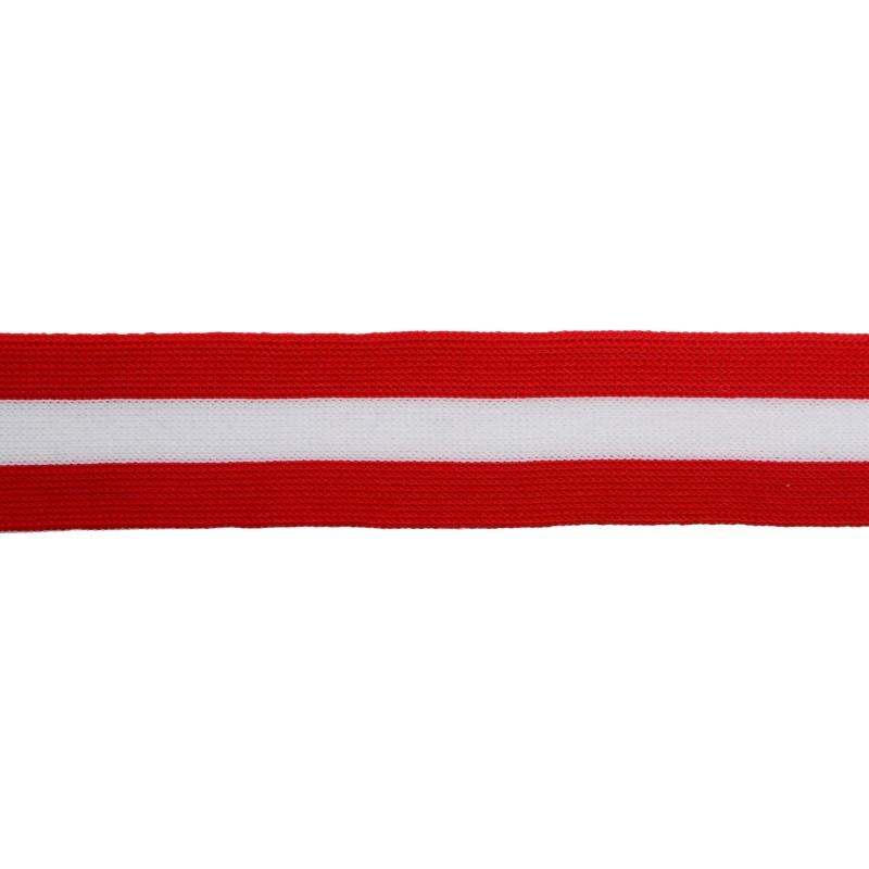 Тесьма трикотажная полиэстер 3,5см 68-70м/рулон,цв:красный/белый