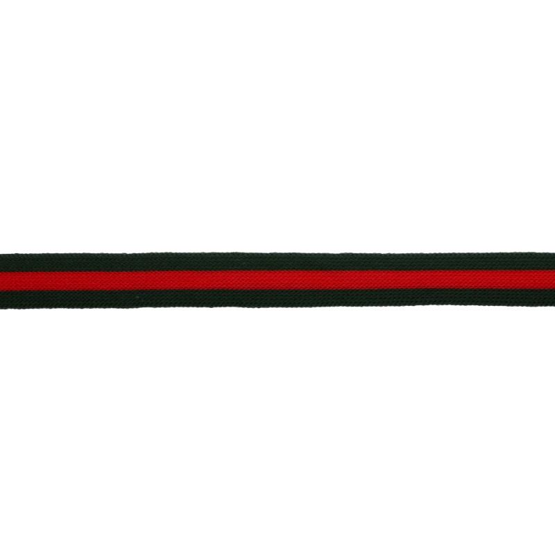 Тесьма трикотажная полиэстер 1,5см 68-70м/рулон,цв:т.зеленый/красный