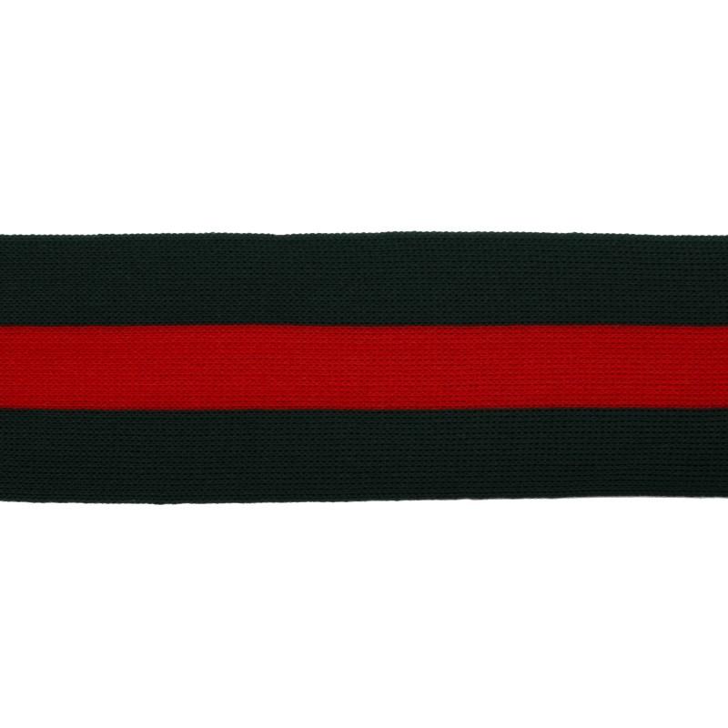 Тесьма трикотажная полиэстер 5см 68-70м/рулон,цв:т.зеленый/красный