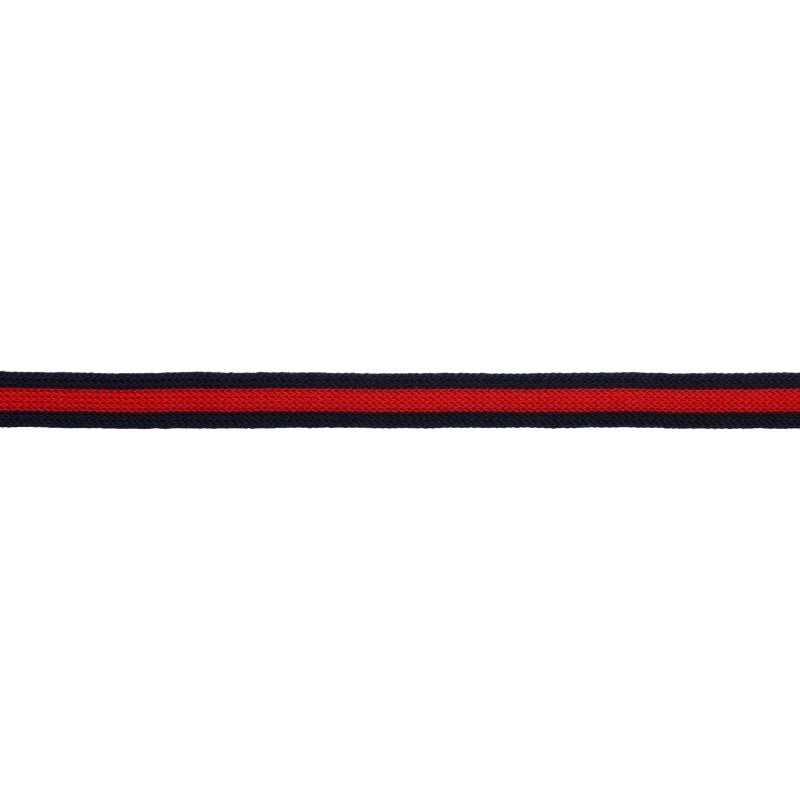 Тесьма трикотажная полиэстер 1см 68-70м/рулон,цв:т.синий/красный