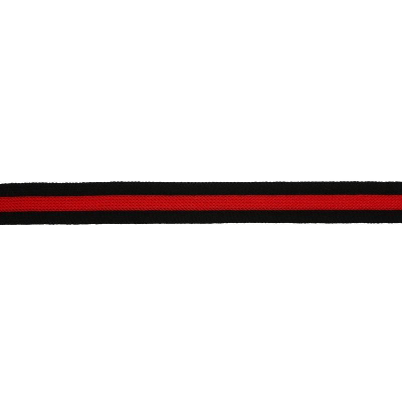 Тесьма трикотажная полиэстер 1,5см 68-70м/рулон,цв:черный/красный