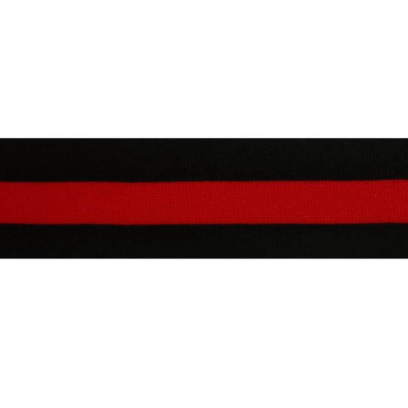 Тесьма трикотажная полиэстер 5см 68-70м/рулон,цв:черный/красный