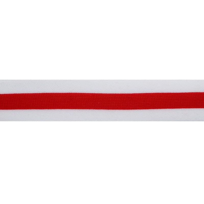 Тесьма трикотажная полиэстер 3см 68-70м/рулон, цв:красный/белый
