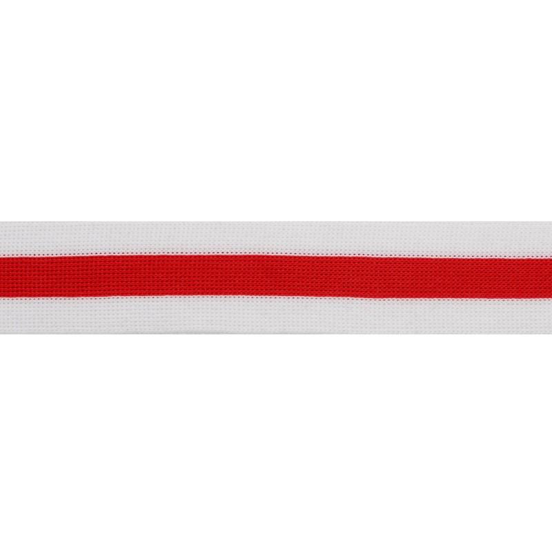 Тесьма трикотажная полиэстер 3,5см 68-70м/рулон, цв:красный/белый