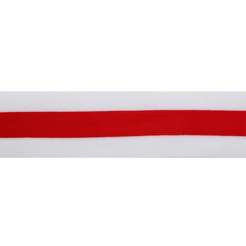 Тесьма трикотажная полиэстер 4см 68-70м/рулон, цв:красный/белый