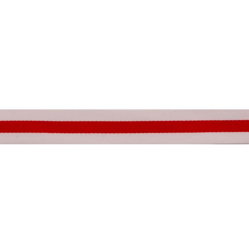 Тесьма сатин 1,5см, 45м/рул, цв: белый/красный