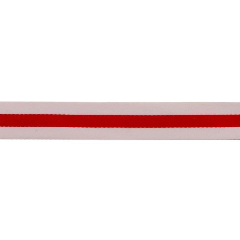 Тесьма сатин 2см, 45м/рул, цв: белый/красный