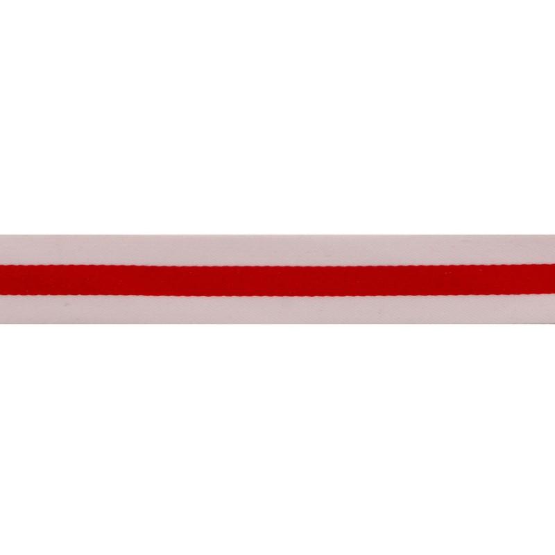 Тесьма сатин 2,5см, 45м/рул, цв: белый/красный