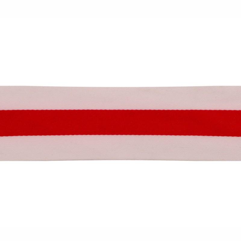 Тесьма сатин 3см, 45м/рул, цв: белый/красный
