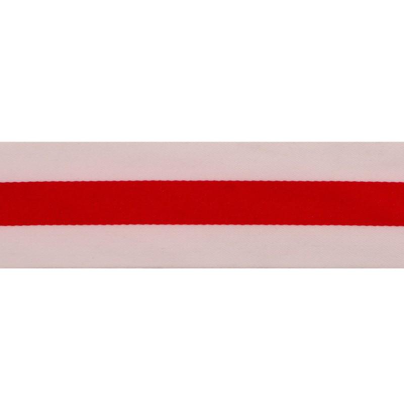 Тесьма сатин 4см, 45м/рул, цв: белый/красный