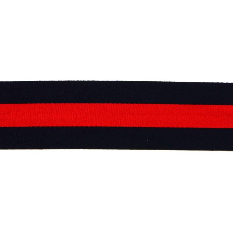 Тесьма сатин 3см, 45м/рул, цв: т.синий/красный