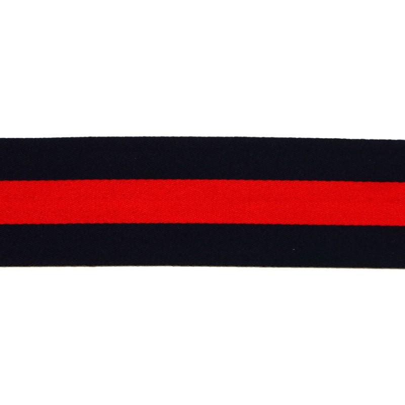 Тесьма сатин 4см, 45м/рул, цв: т.синий/красный