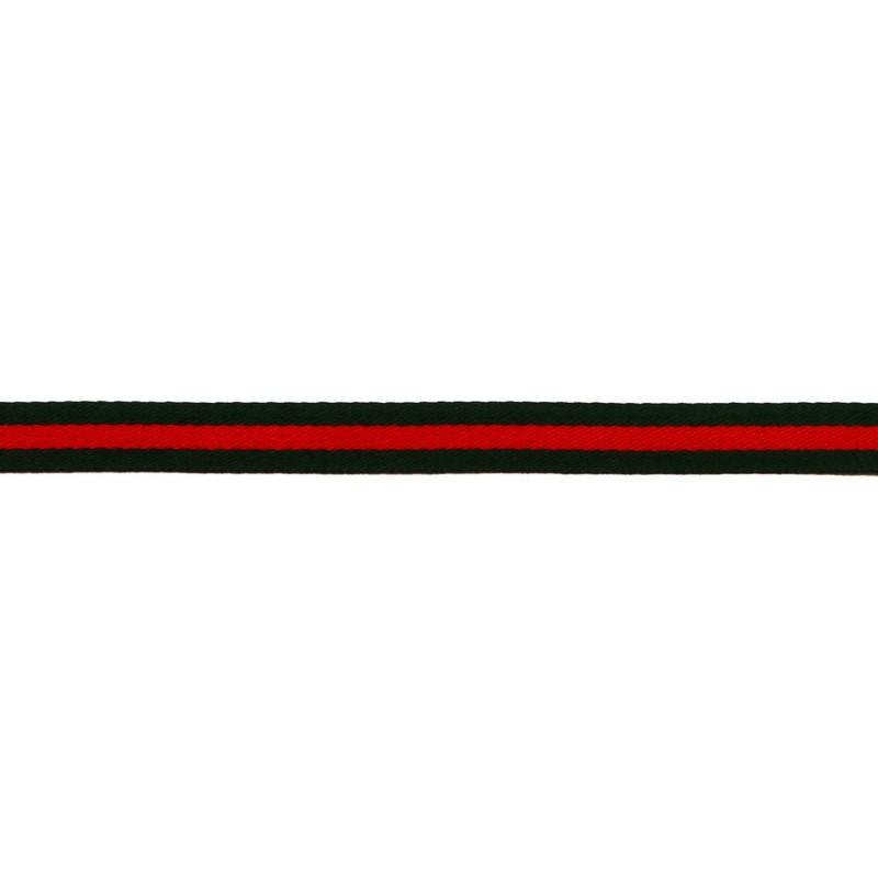 Тесьма сатин 1,5см, 45м/рул, цв: т.зеленый/красный