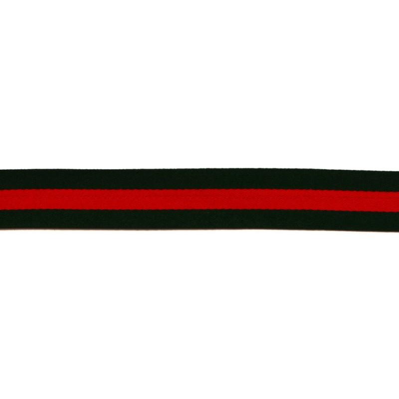 Тесьма сатин 2см, 45м/рул, цв: т.зеленый/красный