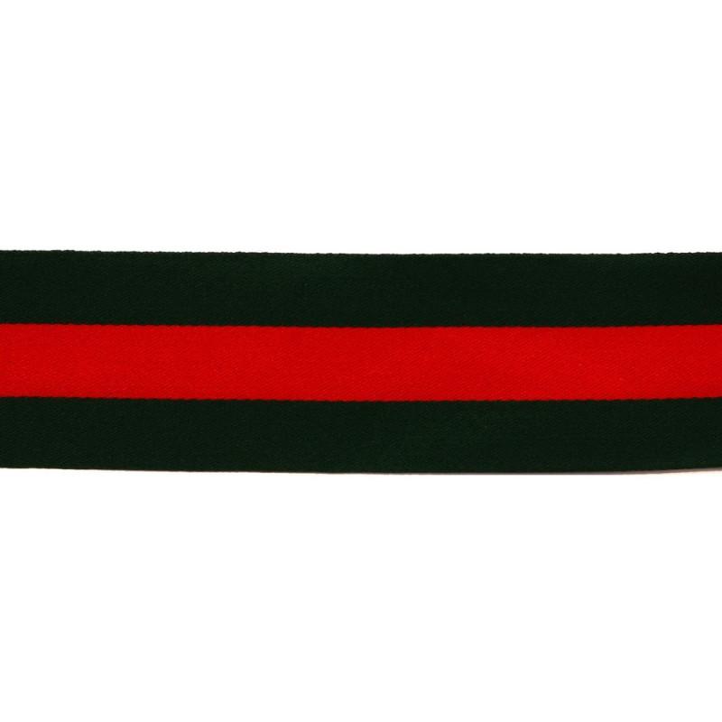 Тесьма сатин 3см, 45м/рул, цв: т.зеленый/красный