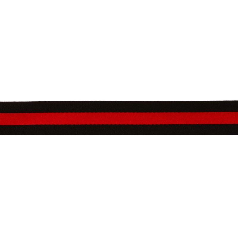 Тесьма сатин 2см, 45м/рул, цв: черный/красный