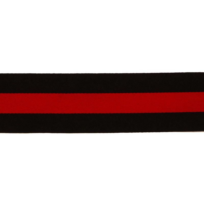 Тесьма сатин 3см, 45м/рул, цв: черный/красный