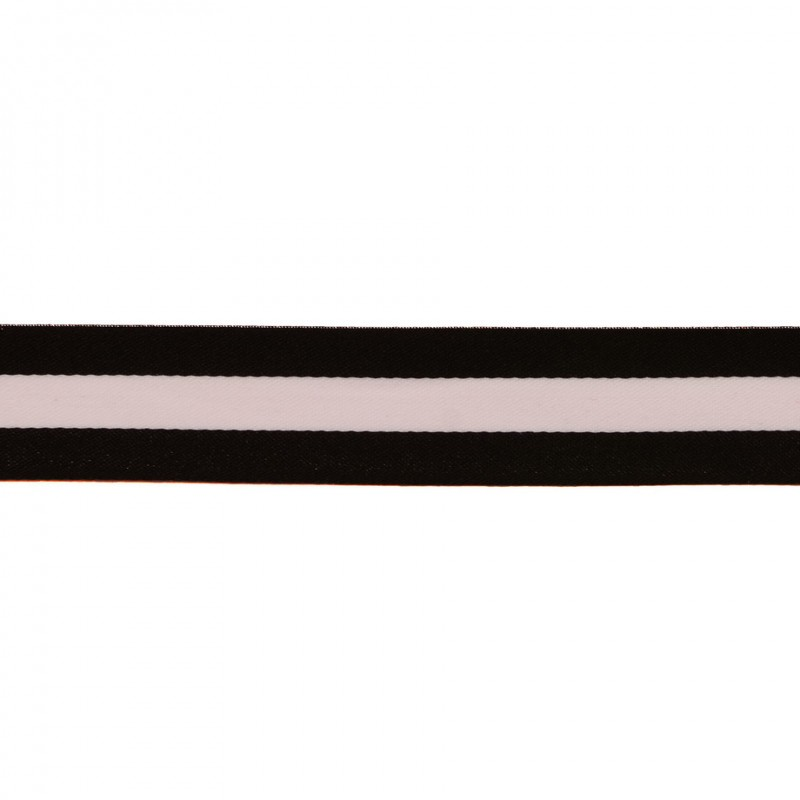 Тесьма сатин 2,5см, 45м/рул, цв: черный/белый