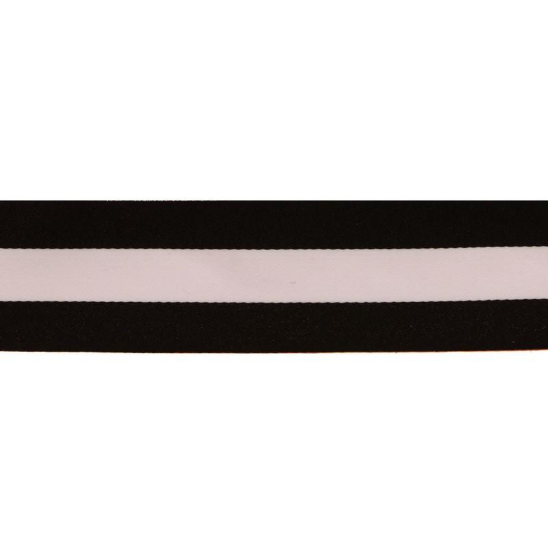 Тесьма сатин 3см, 45м/рул, цв: черный/белый