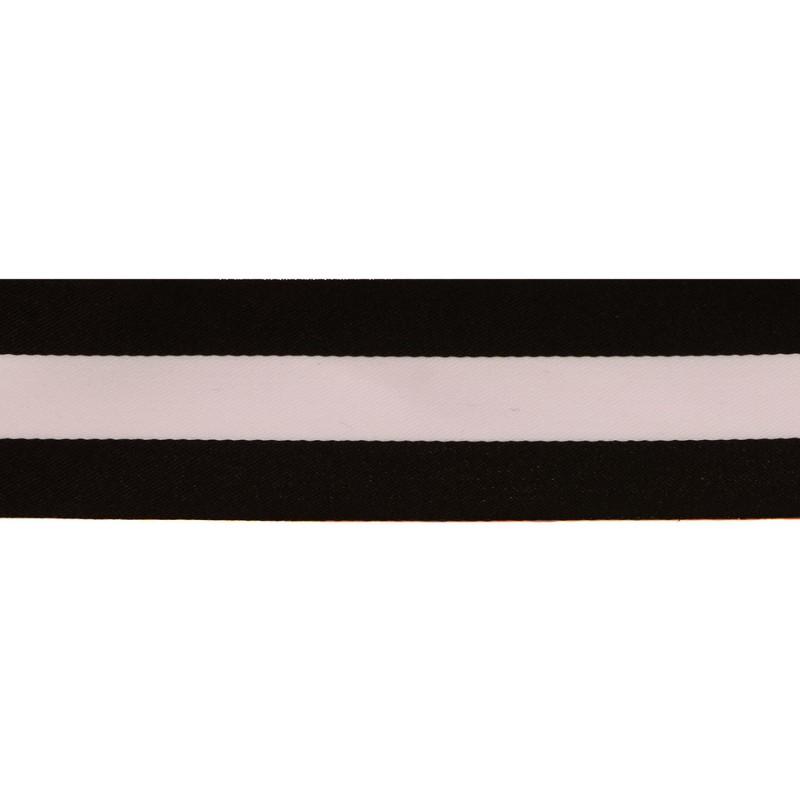 Тесьма сатин 4см, 45м/рул, цв: черный/белый