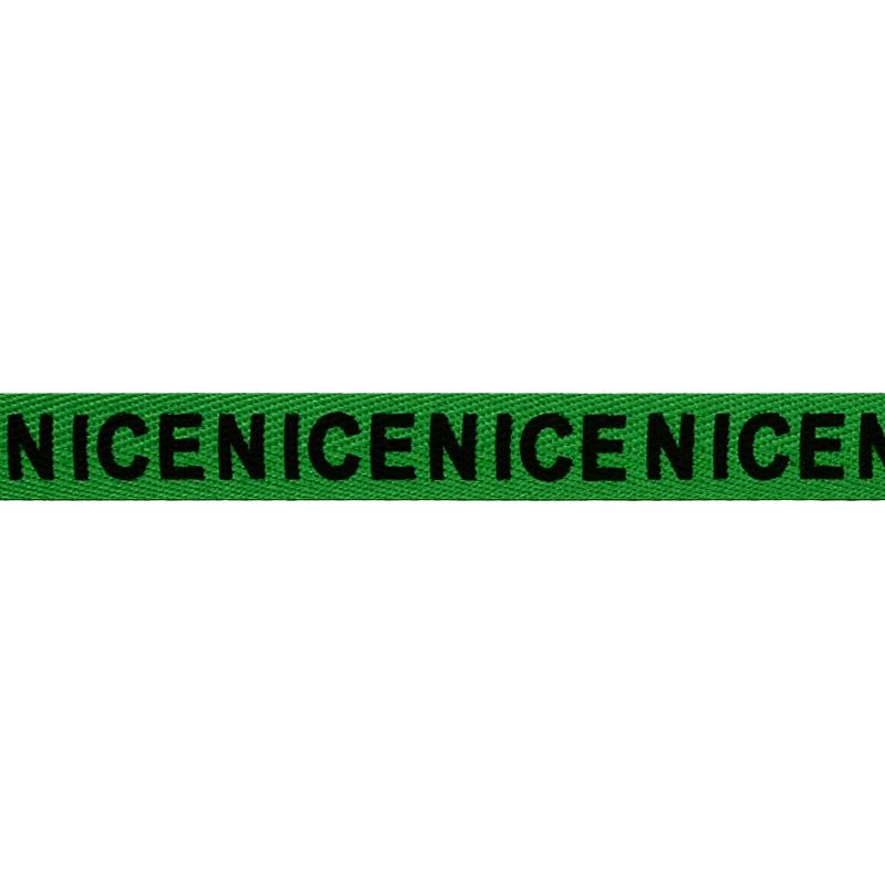 Тесьма киперная полиэстер/принт NICE 1см 43-45м/рулон, цв:зеленый/черный