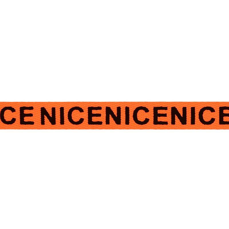 Тесьма киперная полиэстер/принт NICE 1см 43-45м/рулон, цв:оранжевый неон/черный