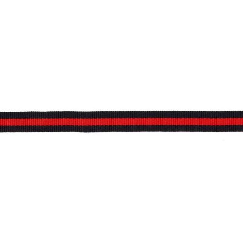 Тесьма репс 10мм, 45м/рул, цв: тёмно-синий/красный