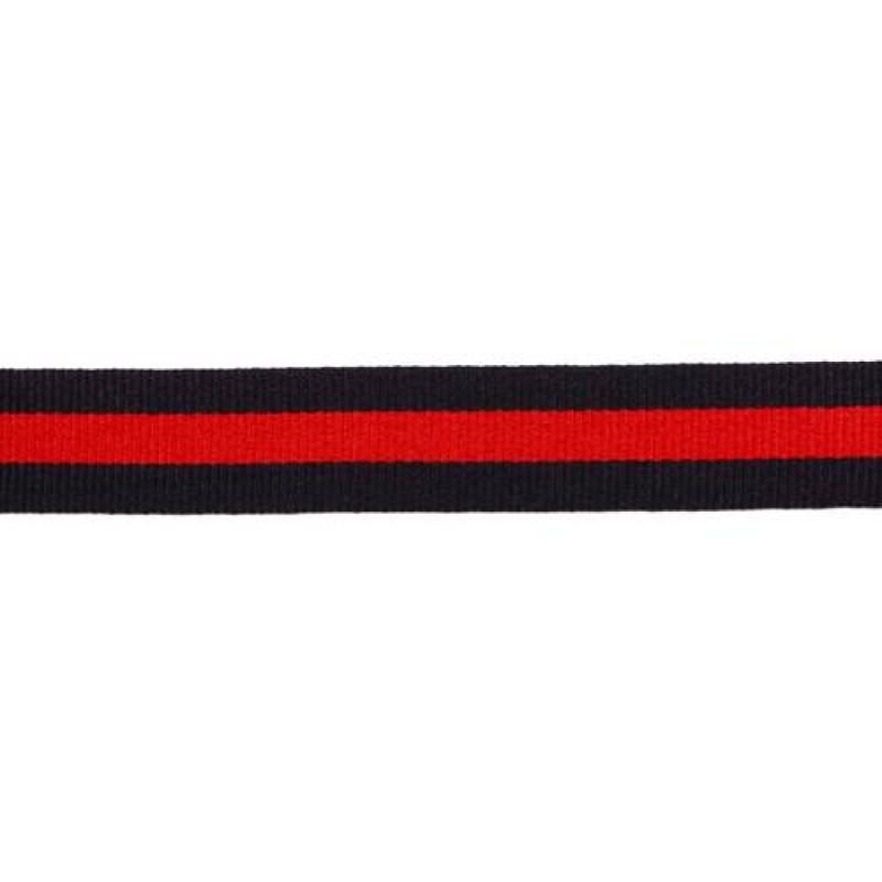 Тесьма репс 20мм, 45м/рул, цв: тёмно-синий/красный