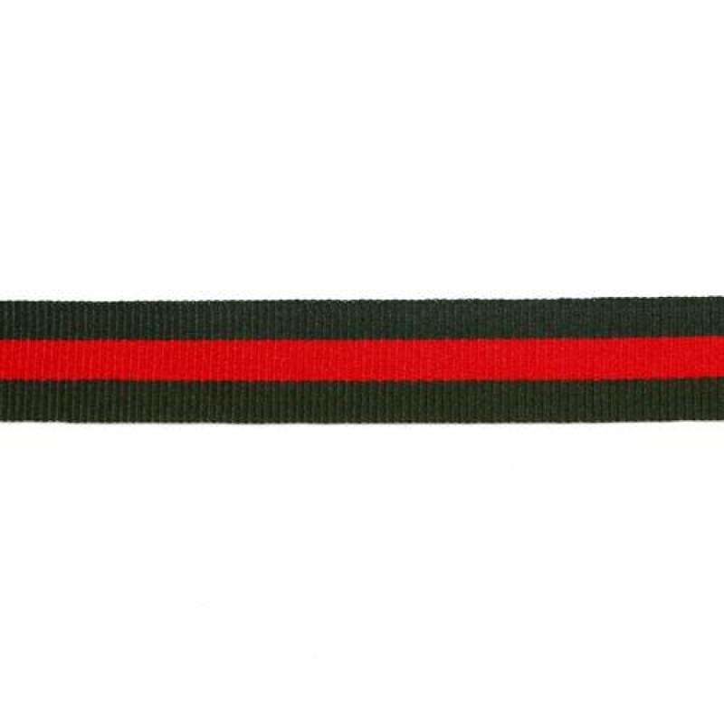 Тесьма репс 20мм, 45м/рул, цв: тёмно-зеленый/красный