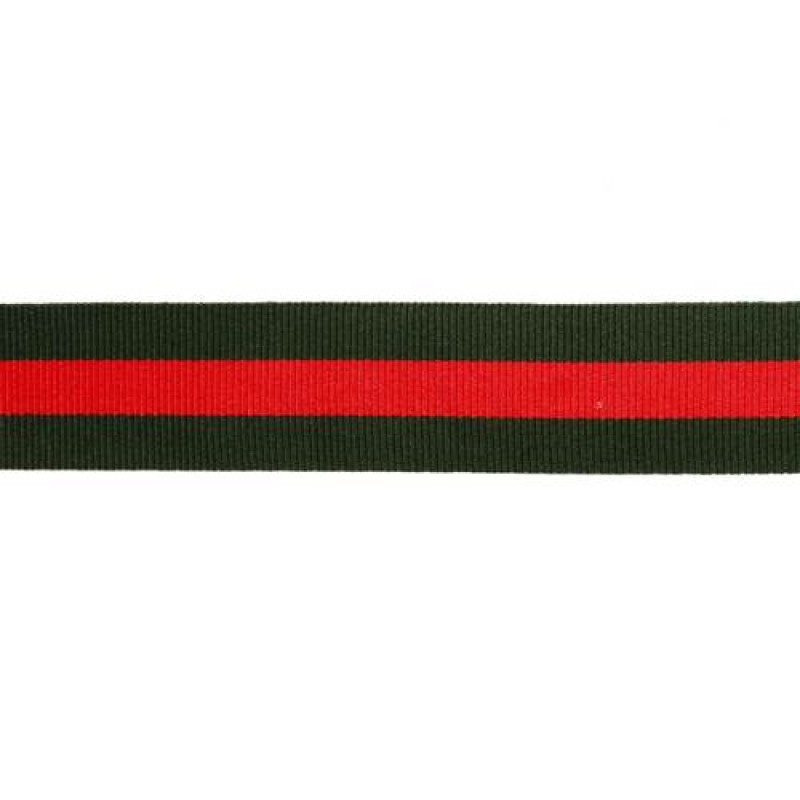Тесьма репс 25мм, 45м/рул, цв: тёмно-зеленый/красный
