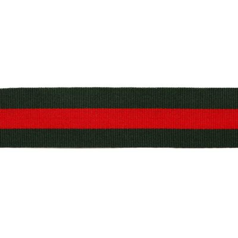 Тесьма репс 30мм, 45м/рул, цв: тёмно-зеленый/красный