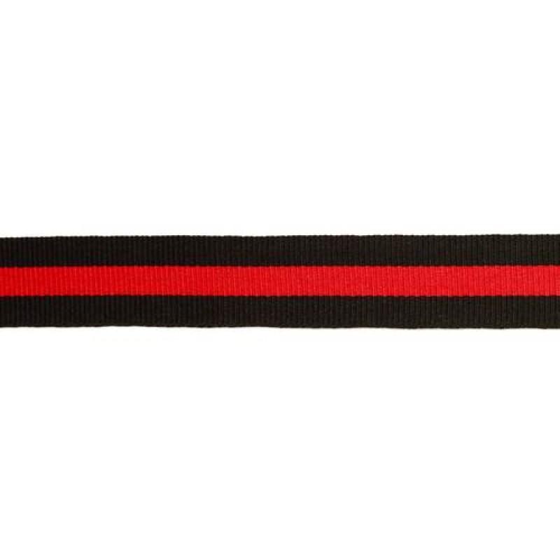 Тесьма репс 20мм, 45м/рул, цв: черный/красный