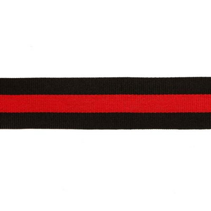 Тесьма репс 30мм, 45м/рул, цв: черный/красный