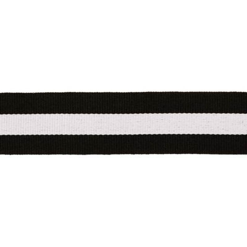 Тесьма репс 30мм, 45м/рул, цв: черный/белый