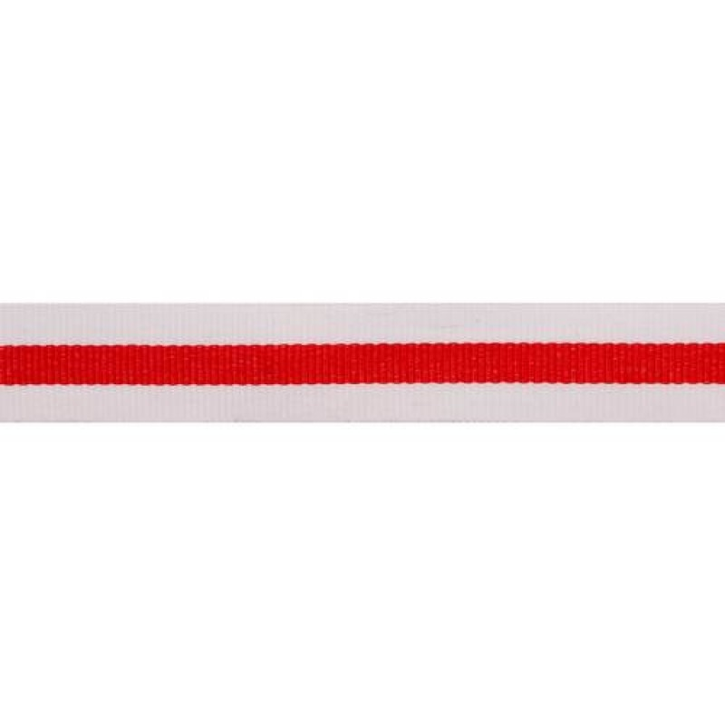 Тесьма репс 20мм, 45м/рул, цв: белый/красный