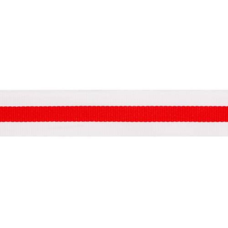 Тесьма репс 25мм, 45м/рул, цв: белый/красный