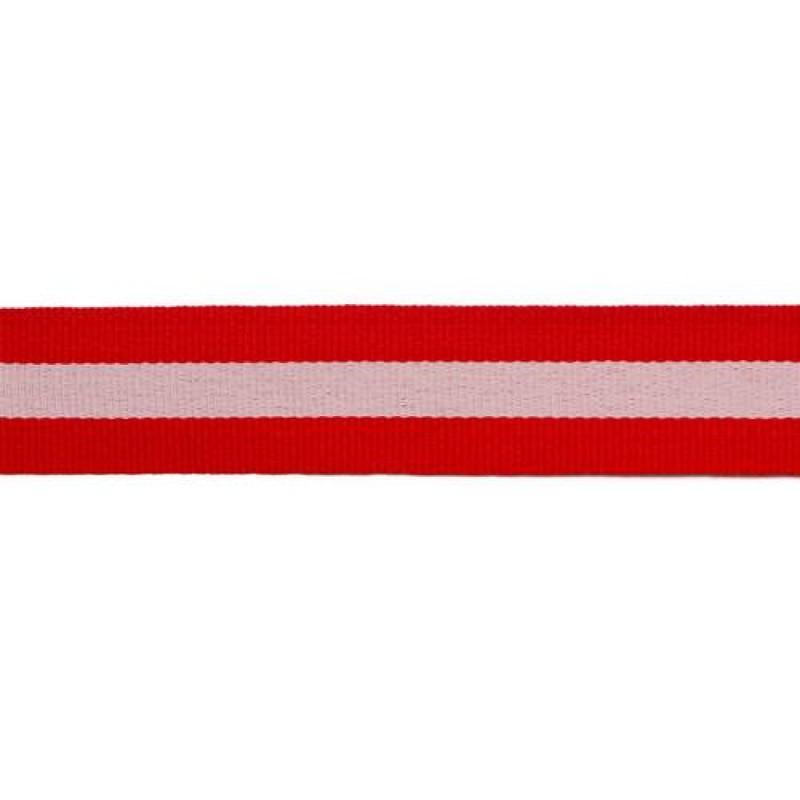 Тесьма репс 25мм, 45м/рул, цв: красный/белый