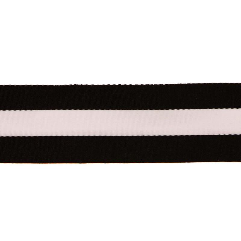 Тесьма сутаж 4см, 45м/рул, цв: черный/белый