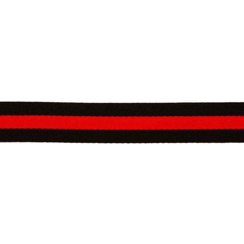 Тесьма сутаж 2,5см, 45м/рул, цв: черный/красный