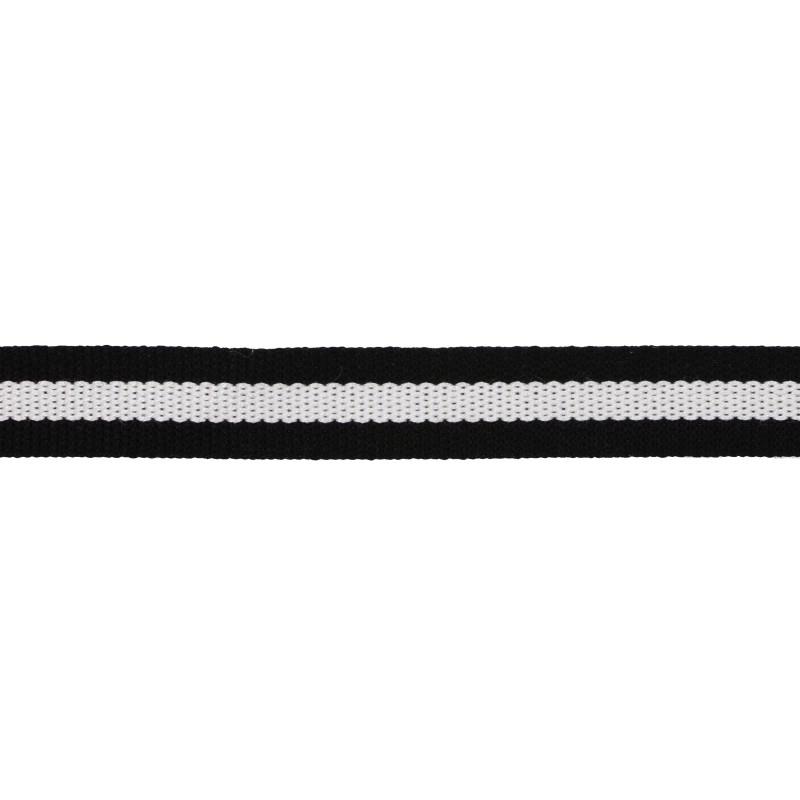 Тесьма хлопок 1,5см 43-45м/рулон, цв:черный/белый