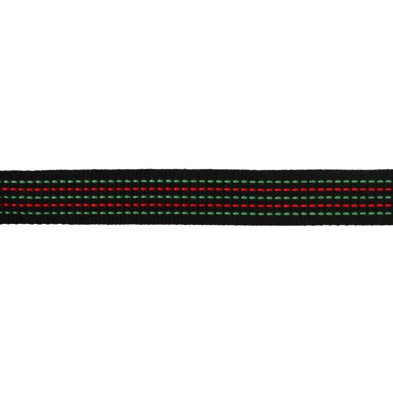 Тесьма хлопок 1,5см 43-45м/рулон, цв:черный/зеленый/красный