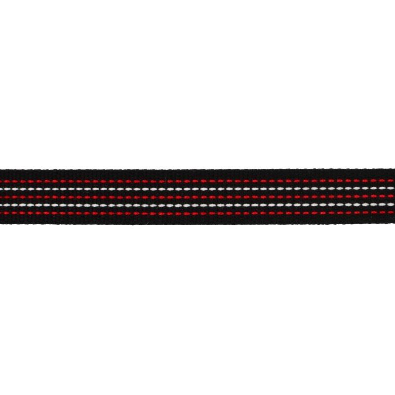 Тесьма хлопок 1,5см 43-45м/рулон, цв:черный/белый/красный