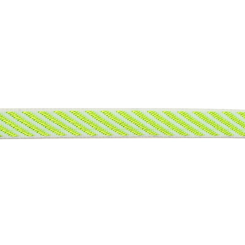 Тесьма полиэстер/жаккард 1см 43-45м/рулон,цв:белый/салатовый