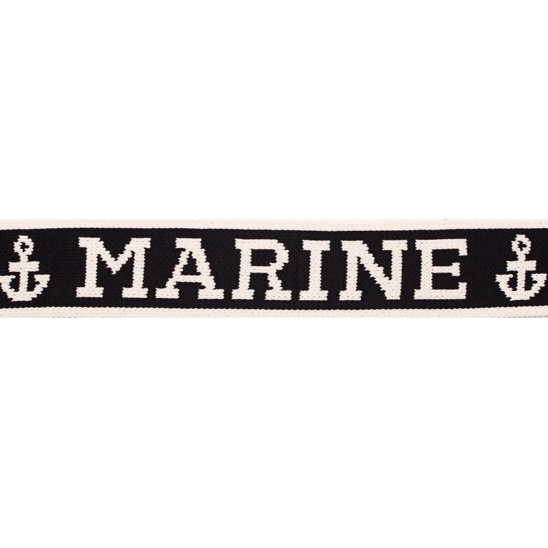 Тесьма нейлон с лого жаккард 4см 50м/рулон, цв:черный/лого белый