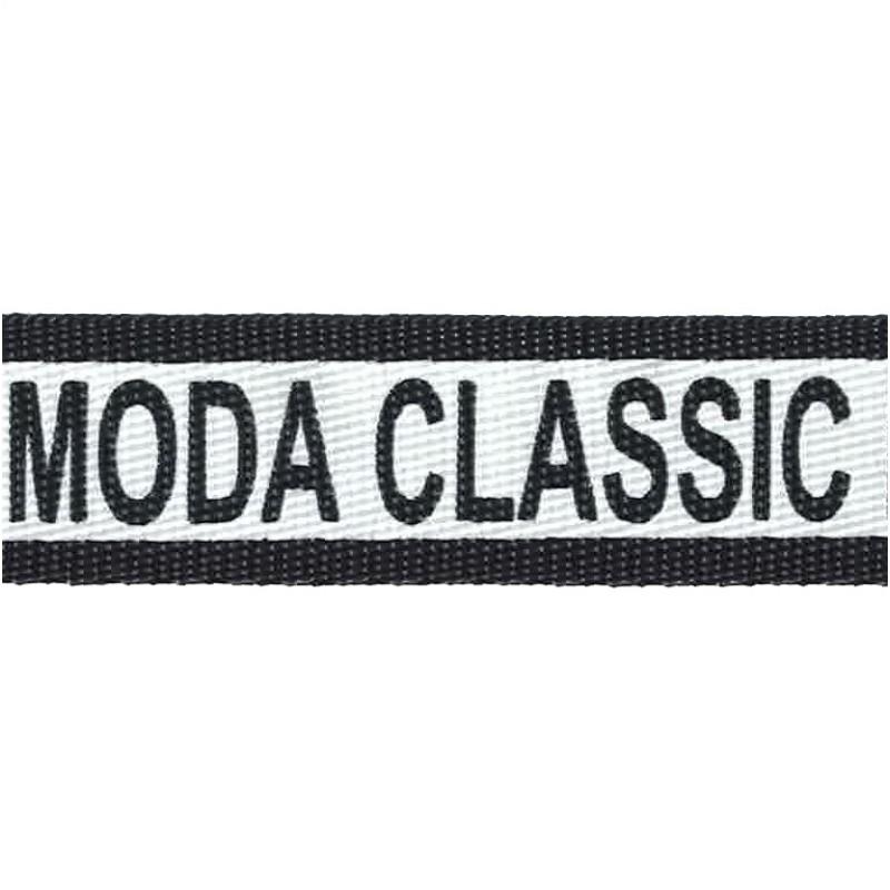 Тесьма стропа полиэстер 2см 43-45м/рулон MODA CLASSIC , цв:черный/принт белый