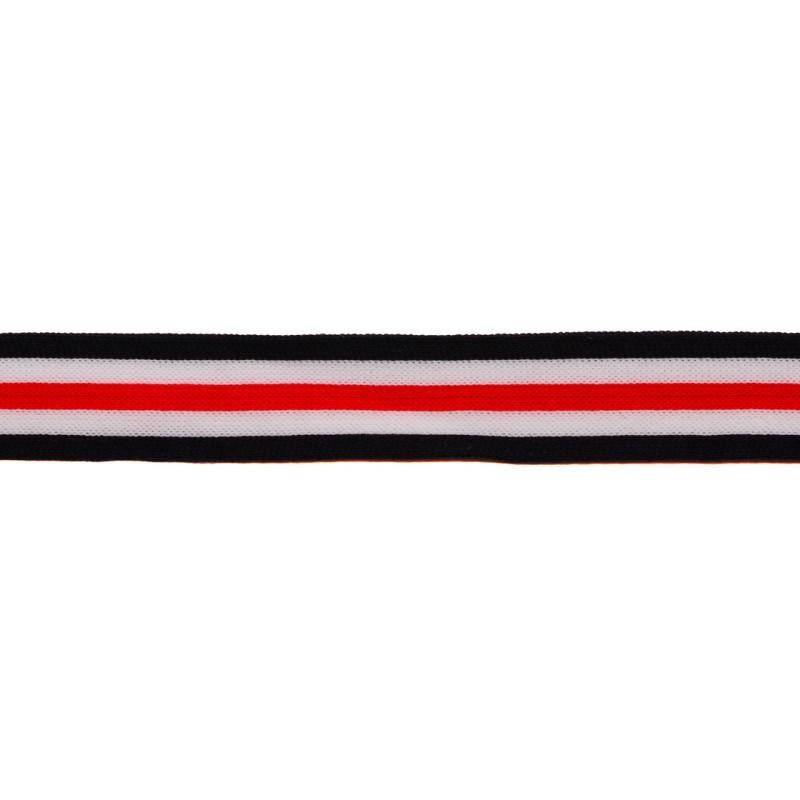 Тесьма трикотажная полиэстер 1см 68-70м/рулон, цв: т.синий/белый/красный