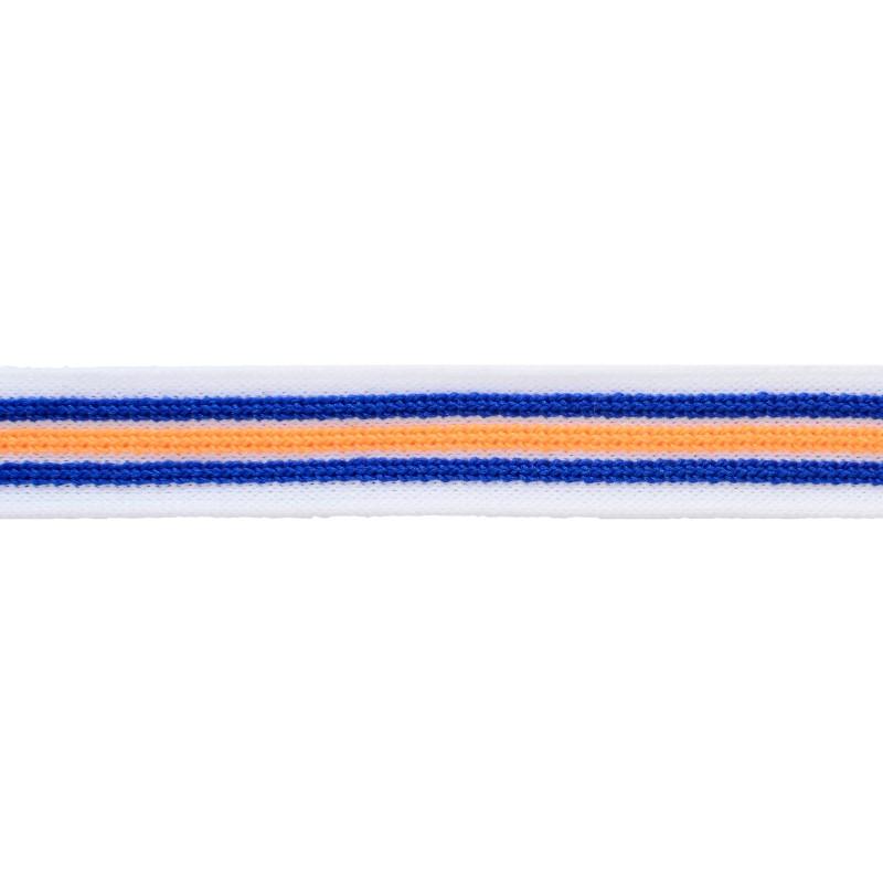 Тесьма трикотажная полиэстер с выпуклыми полосками 2см 68-70м/рулон,цв:белый/синий/оранжевый