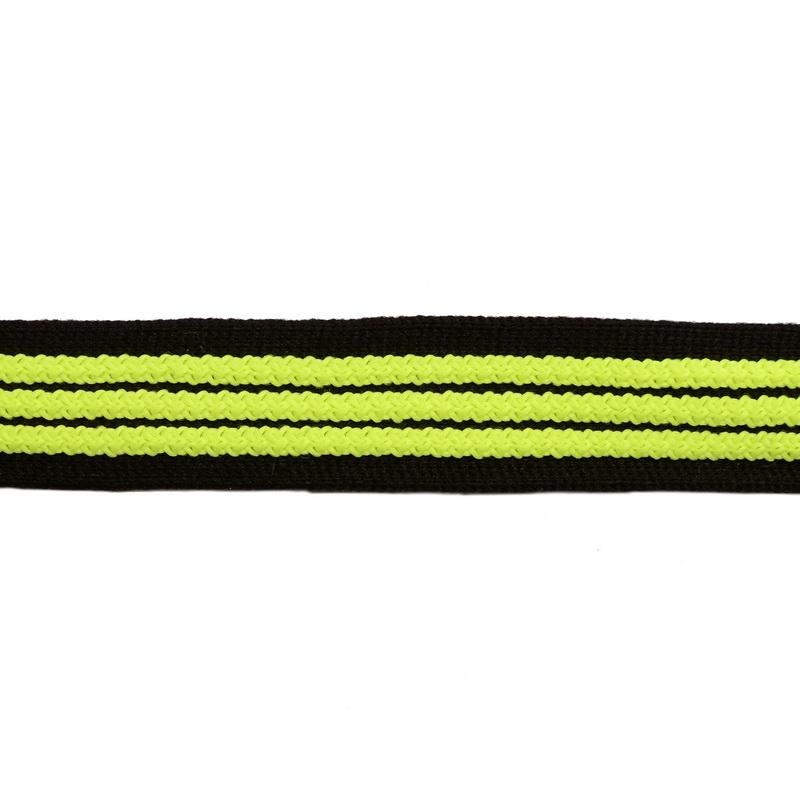 Тесьма трикотажная полиэстер с выпуклыми полосками 2см 68-70м/рулон,цв:черный/салатовый неон
