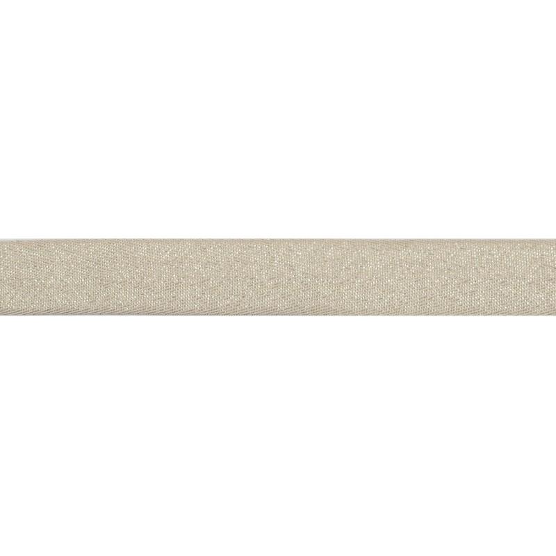 Тесьма киперная хлопок/люрекс 2 см/рулон 43-45м, цв:бежевый/люрекс серебро