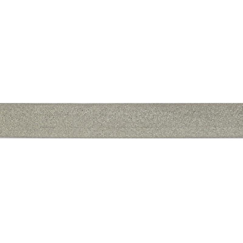 Тесьма киперная хлопок/люрекс 1 см/рулон 43-45м,цв: серый/люрекс серебро